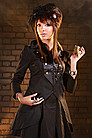 Golden Steam Satin Cabaret Long Jacket Steampunk Jacke