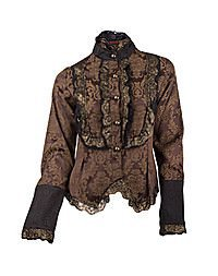 Aderlass Steampunk Blouse Brocade, Brown