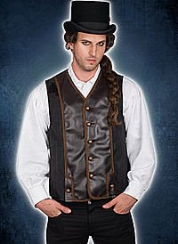 Aderlass Victorian Steampunk Vest Sky Black-Brown