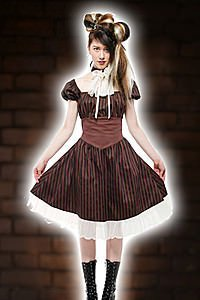 Compass Stripe Peasant Dress Steampunk Kleid