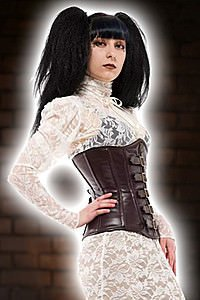 Elite Goth High Neck Ribbon Blouse Steampunk Bluse