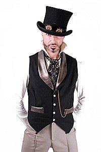 Gold Snakeskin Trim Steampunk Waistcoat
