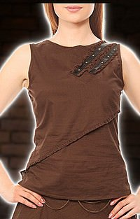 Round Neck Sleeveless Steampunk Top