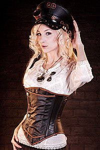 Steampunk Korsett Officer, Leder