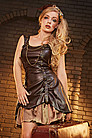 Leather Look Rouch Strap Steampunk Dress
