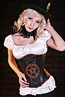 Steampunk Gear Unterbrust-Korsett, Leder