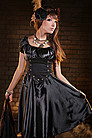 Steampunk Kleid Golden Steam Long Tucked Dress