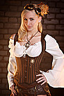 Steampunk Shoulder Corset braun gestreift