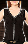 V-Neck Ruffle Steampunk Top